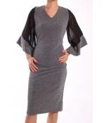 Dámske spoločenské šaty ARIN 38628 - strieborno-čierne