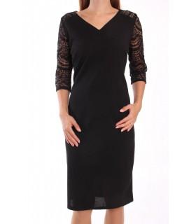 Dámske elastické šaty s krajkovým rukávom LUIZA - čierne