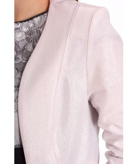 Dámsky krátky lurexový kabátik s paspólom STUMAX - bledoružový