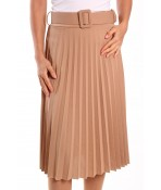 Dámska sukňa plisovaná s opaskom - béžová