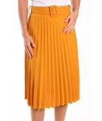 Dámska sukňa plisovaná s opaskom - žltá