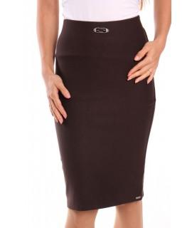 Dámska elastická sukňa s ozdobou - tmavohnedá