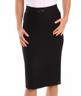 Dámska elastická sukňa s ozdobou - čierna