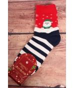 Vianočné bavlnené ponožky (SN6665) - modré pásikavé - Mikuláš