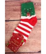 Vianočné bavlnené ponožky (SN6665) - červeno-krémové - Sob