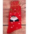 Vianočné bavlnené ponožky (SF6703) - červené - Mikuláš s vločkami