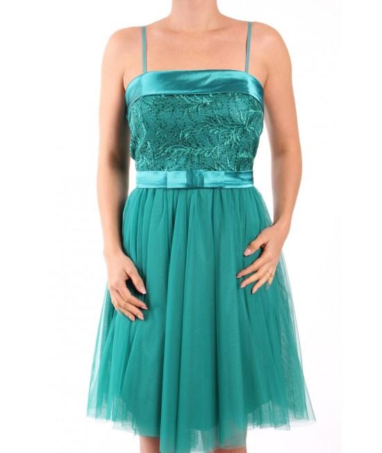 Dámske spoločenské šaty s paspólom a s mašľou - zelené