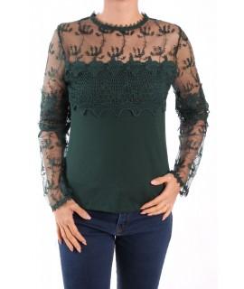 Dámske elastické tričko kombinované s krajkou MISS MODA - tmavozelené