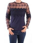Dámske elastické tričko kombinované s krajkou MISS MODA - tmavomodré