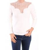 Dámske elastické tričko s krajkou - biela