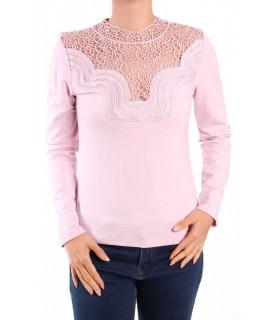 Dámske elastické tričko s krajkou - ružová