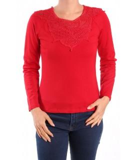 Dámske elastické tričko s krajkou - červená