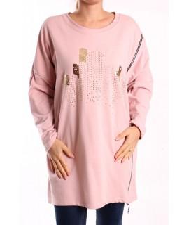 Dámska bavlnená tunika so zipsom - ružová