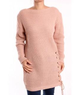 Dámsky pletený pulóver dlhý - staroružový