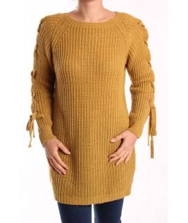 Dámsky pletený pulóver dlhý - okrový