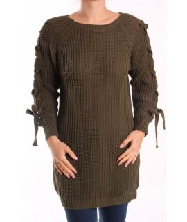 Dámsky pletený pulóver dlhý - vojensko zelený