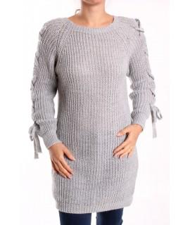 Dámsky pletený pulóver dlhý - bledosivý