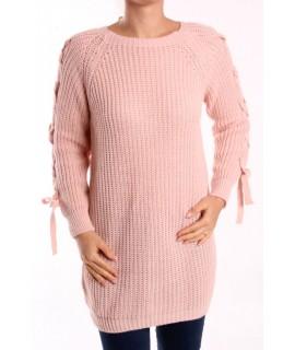 Dámsky pletený pulóver dlhý - bledoružový
