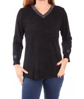 Dámsky pulóver ozdobené s trblietkami - čierny