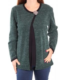 Dámsky pulóver ozdobené so sponou - zelený