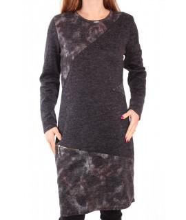 Dámske bavlnené šaty - sivo-čierne