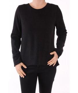 Dámsky pulóver kombinovaný so silonom FASHION - čierny
