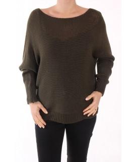Dámsky pletený pulóver V&F moda - tmavozelený