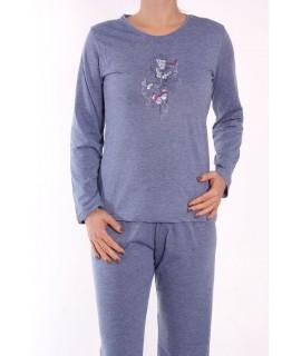 Dámske pyžamo DEHAI-N-2831 - motýle - modré