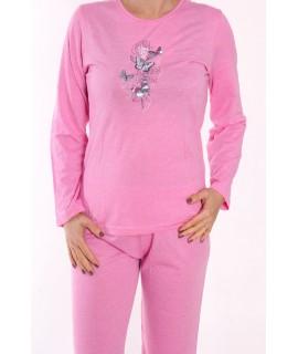 Dámske pyžamo DEHAI-N-2831 - motýle - ružové