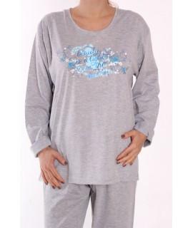 Dámske pyžamo DEHAI-DN-2839 - ruže - bledosivé