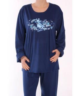Dámske pyžamo DEHAI-DN-2839 - ruže - tmavomodré