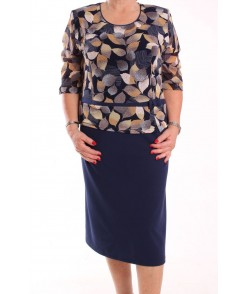 Dámske spoločenské elastické šaty  KEPKA (vzor 007) - tmavomodré