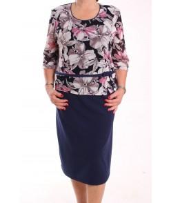 Dámske spoločenské elastické šaty  KEPKA (vzor 008) - tmavomodré