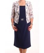 Dámske spoločenské elastické šaty KEPKA - tmavomodré so staroružovými listami (006)