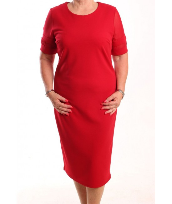 Dámske spoločenské elastické šaty EFECK - červené s krátkymi silonovými rukávmi
