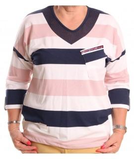 Dámske pásikavé tričko MATEO - modro-ružové