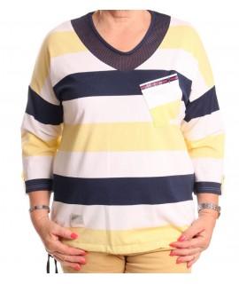 Dámske pásikavé tričko MATEO - modro-žlté