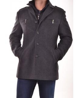 Pánsky flaušový kabát s dvojitým golierom - sivočierny P10
