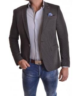 Pánske sako s bielym vzorom - čierne