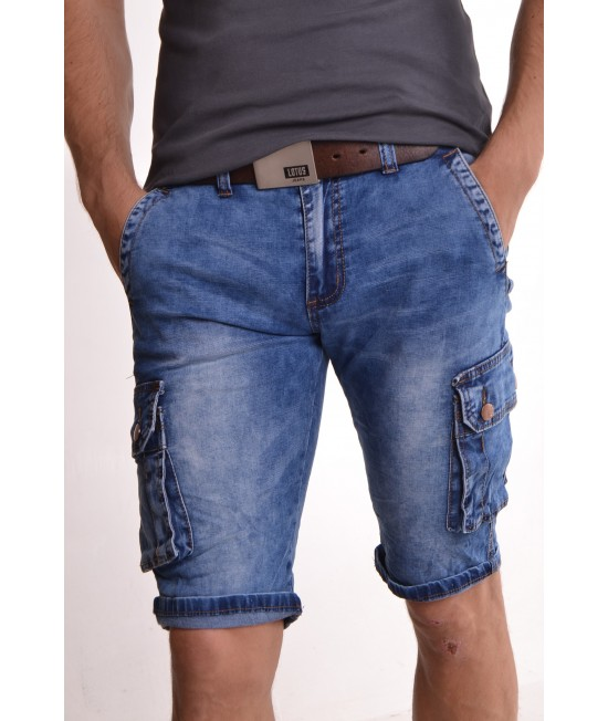 """Pánske elastické krátke rifľové nohavice """"M-SARA"""" (KR-883) - modré"""