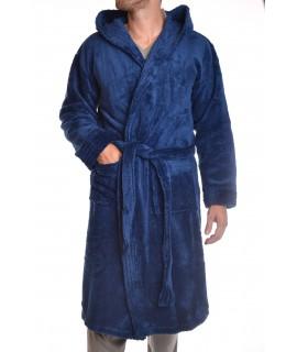 Pánsky župan s kapucňou (FK-2521) - tyrkysovo-modrý
