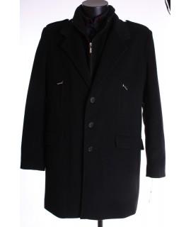 Pánsky flaušový kabát s dvojitým golierom - čierny
