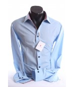 Pánska košeľa s kockovaným vzorom SLIM (176-182 cm) - bledomodrá