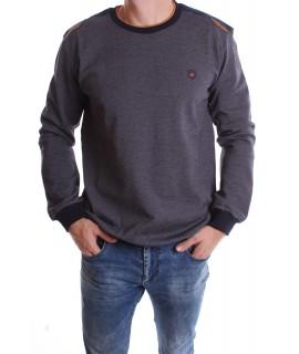 Pánske elastické tričko (9731) - tmavomodro-sivé