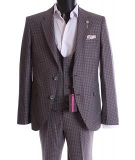 Pánsky oblek s vestou - bordové kocky