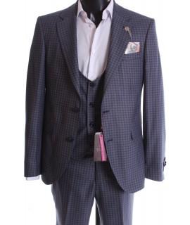Pánsky oblek s vestou - modré kocky