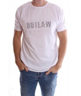 """Pánske elastické nadmerné tričko """"OUTLAW"""" - biele"""