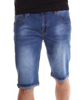 Pánske elastické krátke rifľové nohavice M.SARA (KR1052) - modré
