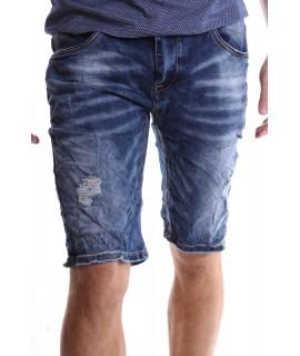 Pánske elastické krátke rifľové nohavice M.SARA (KR3538) - modré