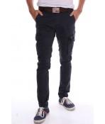 Pánske elastické športové nohavice s vreckami M.SARA (KA552) - sivomodré